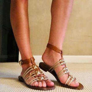 Michael Kors Gladiator Sandals - Brown & Gold